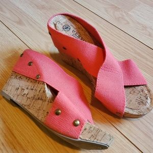 Versona • Cork Wedges with Pink Stretchy Straps